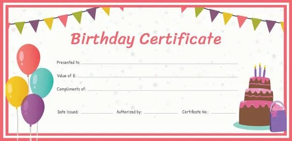 Birthday Gift Certificate Templates - 16+ Free Word, PDF, PSD