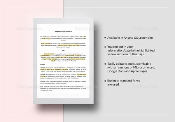 Printable Blank Lease Agreement Form - 17+ Free Word, PDF Documents