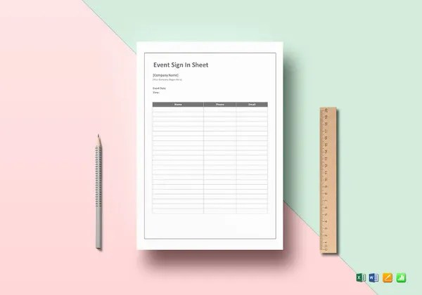... Event Sign In Sheet Template   9+ Free Word, PDF Documents   Event Sign  ...