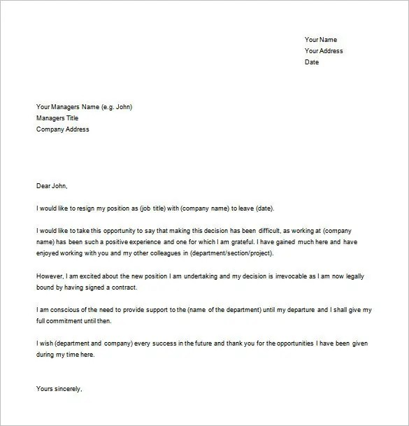 Resignation Letter Templates - 14+ Free Sample, Example, Format