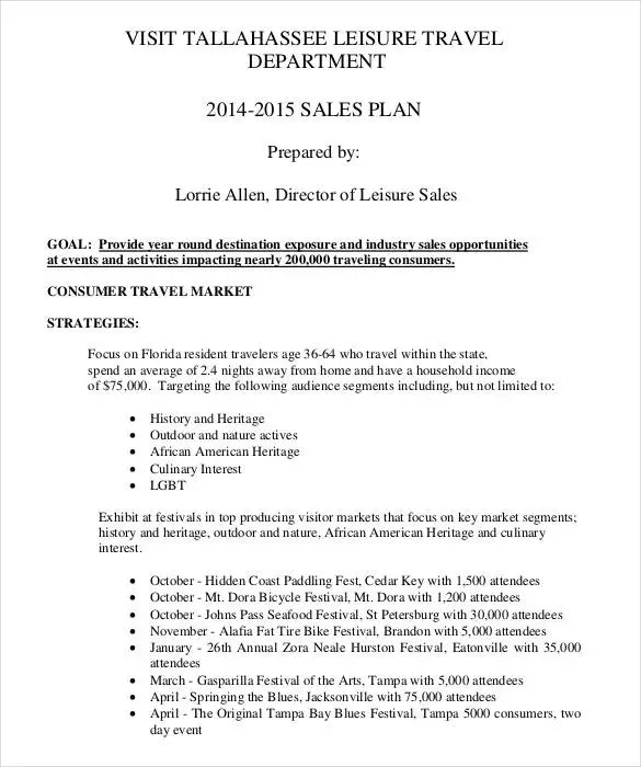 Sales Plan Template - 25+ Free Sample, Example, Format Free - sales plan templates