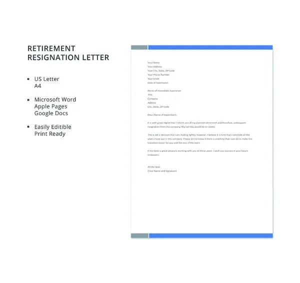 36+ Retirement Letter Templates - PDF, DOC Free  Premium Templates - letter of retirement