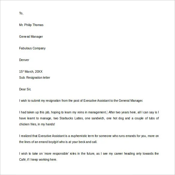 21+ Example Of Resignation Letter Templates - Free Sample ...