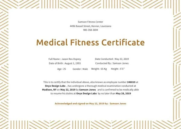 Fitness Gift Certificate Templates \u2013 11+ Free Word, PDF Documents