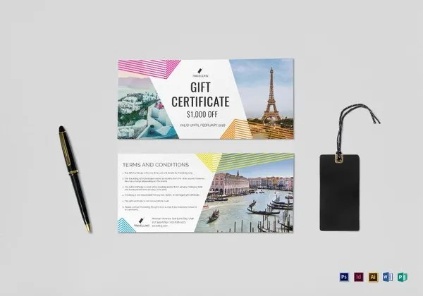 Travel Gift Certificate Templates \u2013 9+ Free Word, PDF, PSD Documents