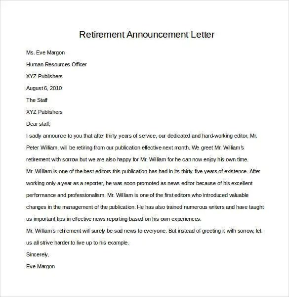 Retirement Letter Templates - 31+ Free Sample, Example Format - announcement letter samples