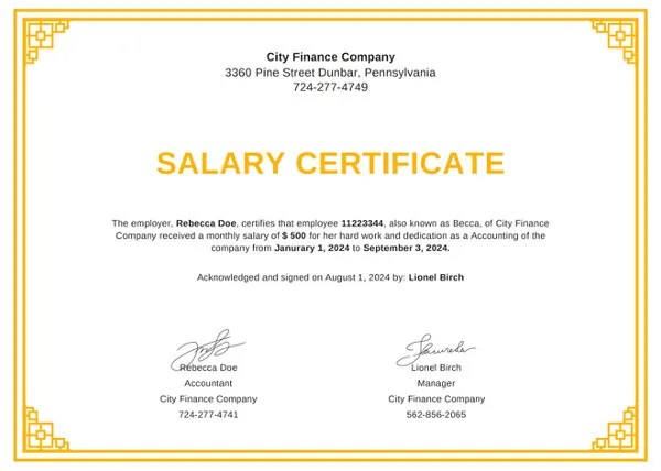 13+ Salary Certificate Template - Free Word, Excel, PDF, PSD Free - salary certificate template