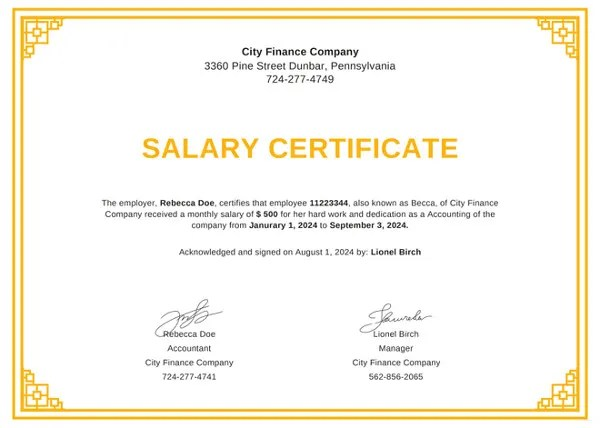 Salary Certificate Formats 16+ Printable Word, Excel  PDF - pay certificate sample