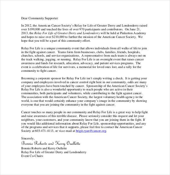 sample cover letter for sponsorship - Vatozatozdevelopment