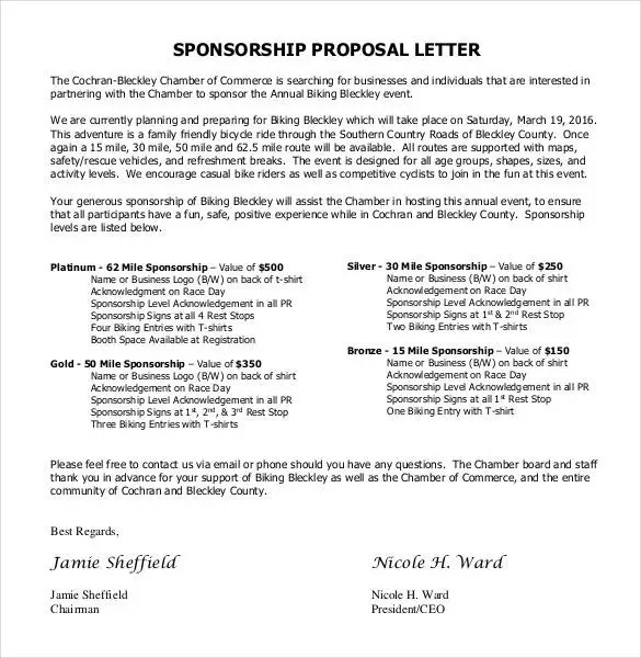 Sponsorship Letter Templates - 40+ Free Sample, Example Format - formal proposal example