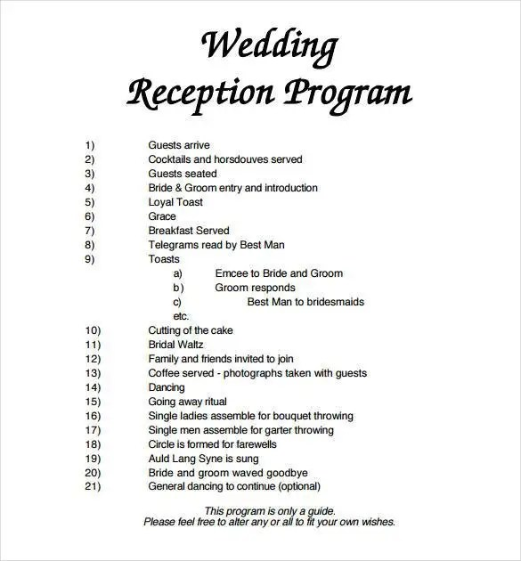Wedding Program Template - 64+ Free Word, PDF, PSD Documents