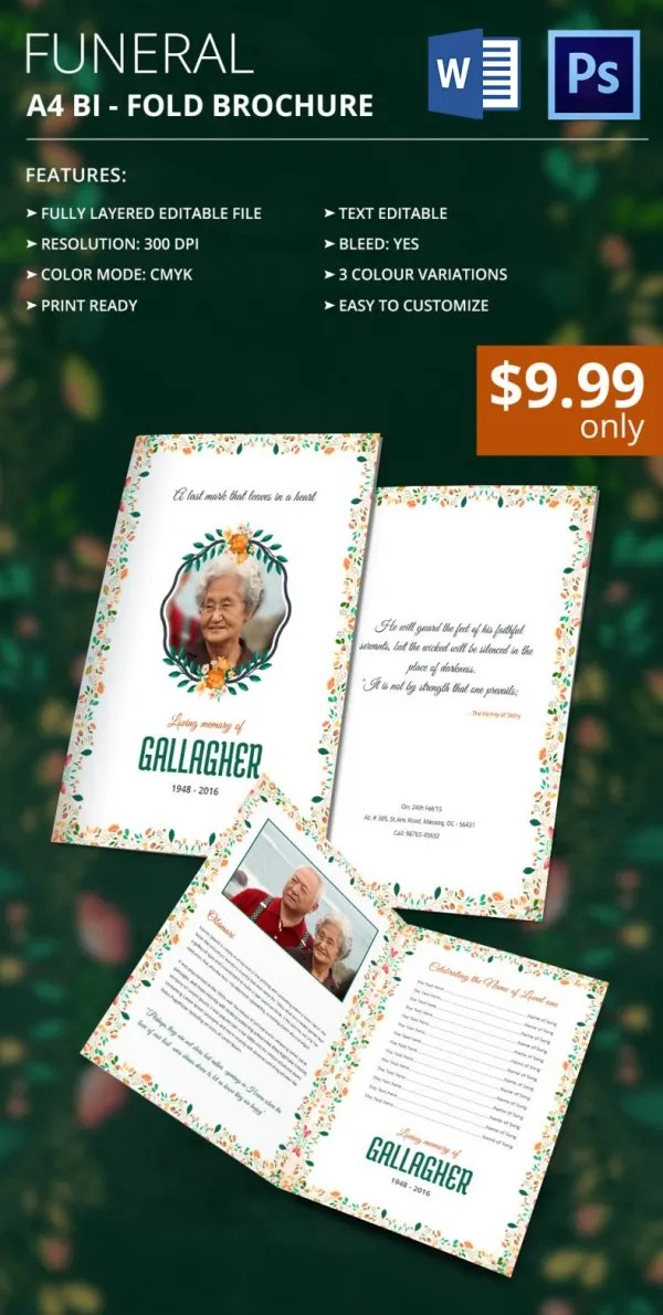 Obit Template - 21+ Word, PSD Format Download Free  Premium Templates - funeral announcement template free