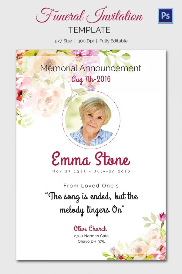 memorial invitation templates free - Ozilalmanoof - Funeral Announcements Template