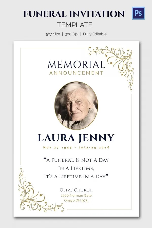 Obit Template - 21+ Word, PSD Format Download Free \ Premium - funeral announcement sample