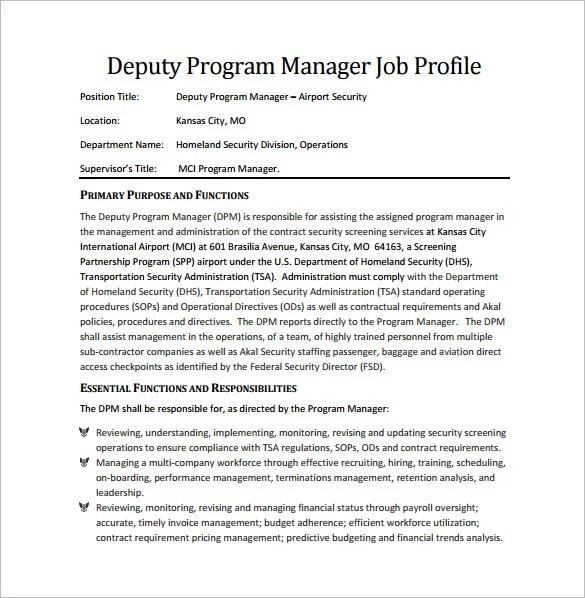 program manager job description - Onwebioinnovate - deputy program manager sample resume