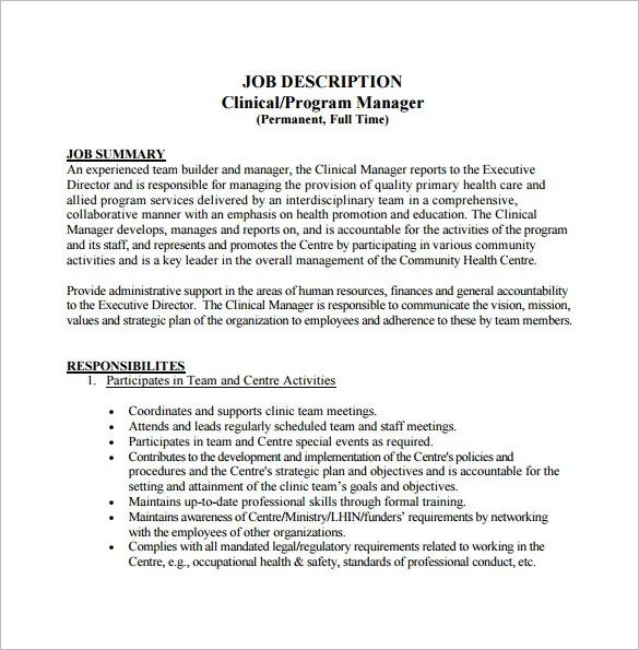 Job Description Template Pa – Program Director Job Description