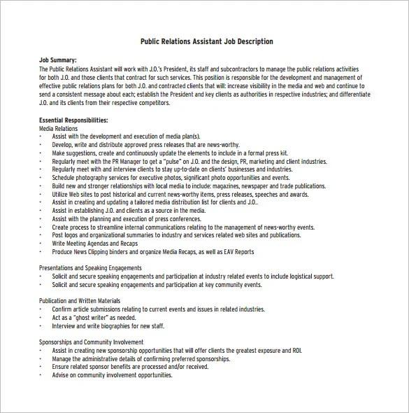 Public Relation Job Description Template \u2013 8+ Free Word, PDF Format