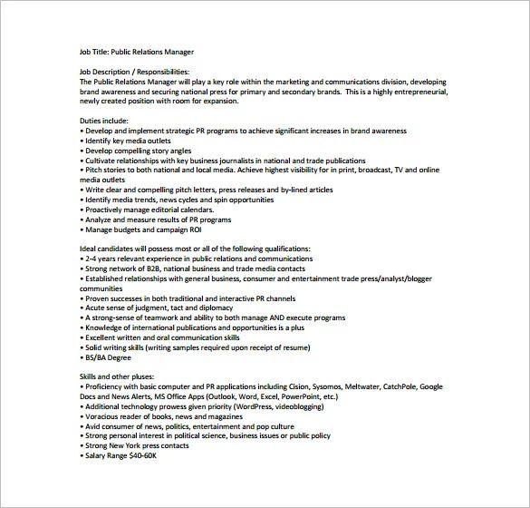business manager job description samples