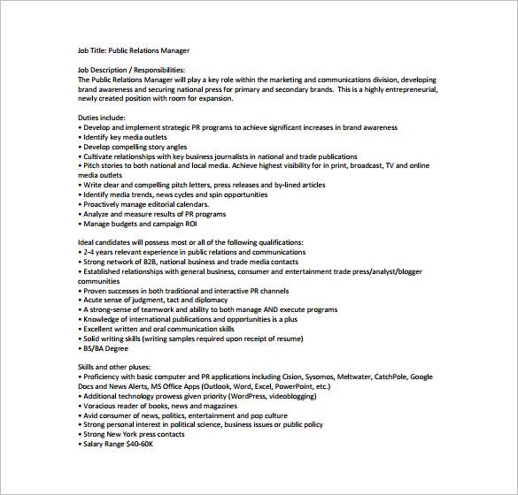 Public Relation Job Description Template \u2013 8+ Free Word, PDF Format - public relations job description