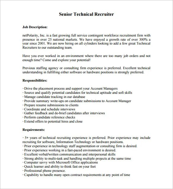 Recruiter Job Description Template \u2013 10+ Free Word, PDF Format