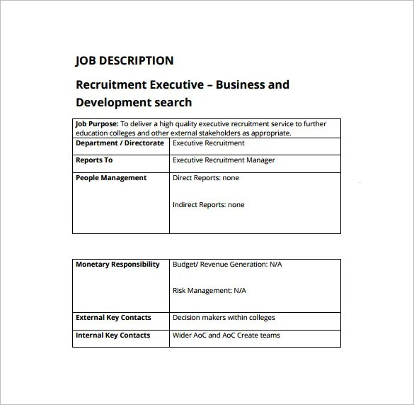 Recruiter Job Description Template \u2013 10+ Free Word, PDF Format - job duty template