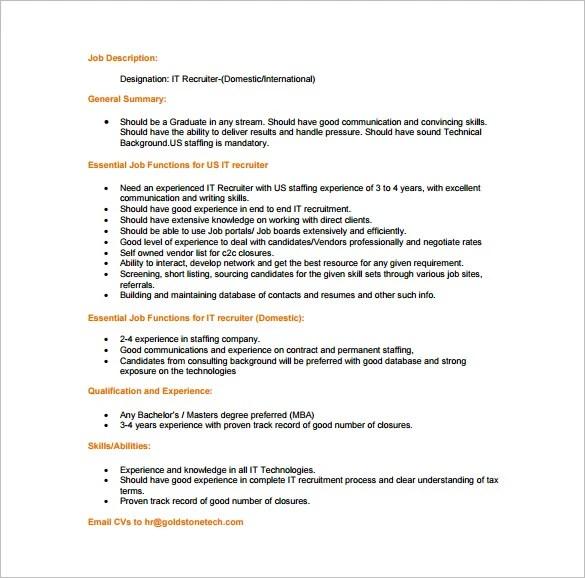 recruiter job description – Cto Job Description