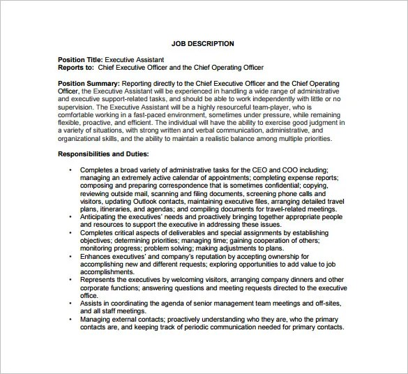 High Quality ... Executive Assistant Job Description Executive Assistant Coo Job   Chief  Operating Officer Sample Resume ...