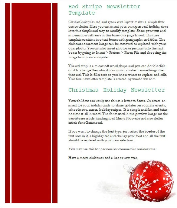 17+ Christmas Newsletter Templates u2013 Free PSD, EPS, Ai, Word - news letter formats