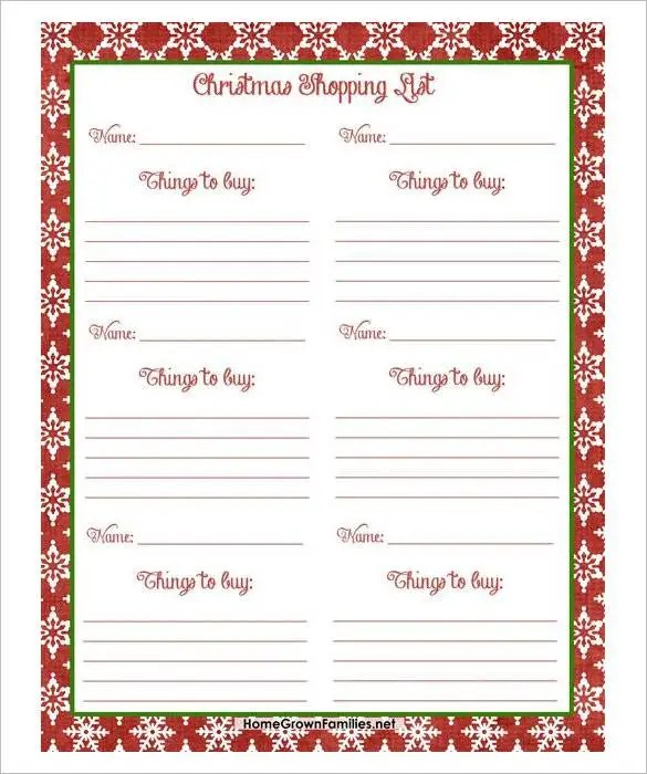 free printable christmas gift list template - Ozilalmanoof