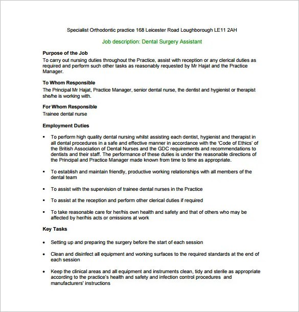 Dental Assistant Job Description Template \u2013 9+ Free Word, PDF Format