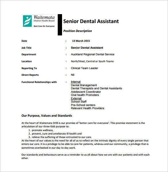 9+ Dental Assistant Job Description Templates \u2013 Free Sample, Example - dental assistant job description