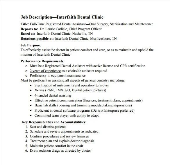 Dental Assistant Job Description Template \u2013 9+ Free Word, PDF Format - dental assistant job description