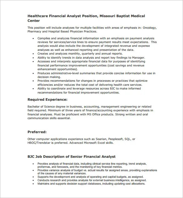 9+ Financial Analyst Job Description Templates - Free Sample