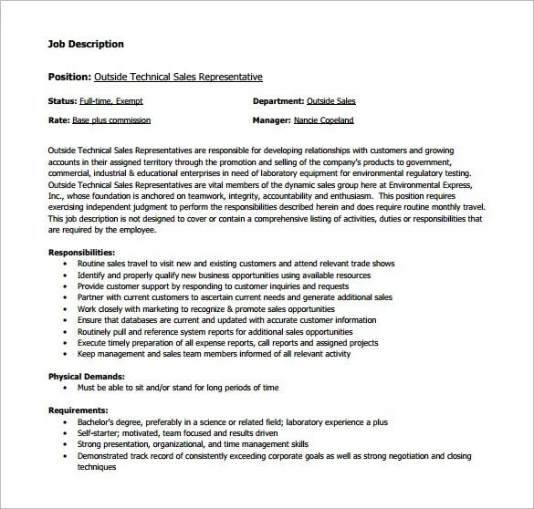 10+ Sample Sales Representative Job Description Templates - Free