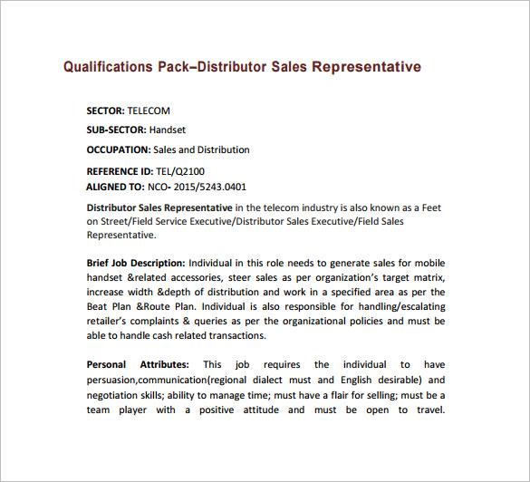 Sales Representative Job Description Template \u2013 10+ Free Word, PDF