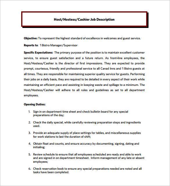 9+ Hostess Job Description Templates \u2013 Free Sample, Example, Format