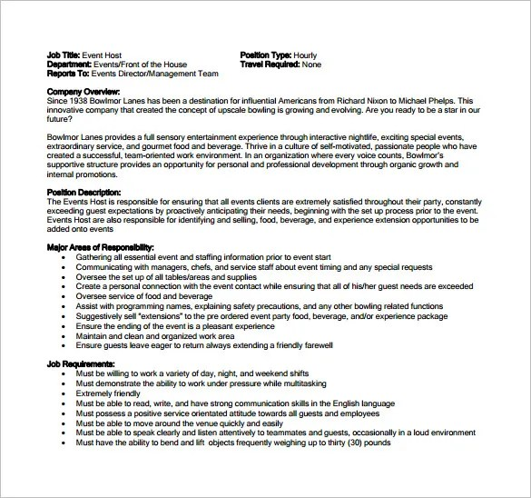 Hostess Job Description Template \u2013 10+ Free Word, PDF Format
