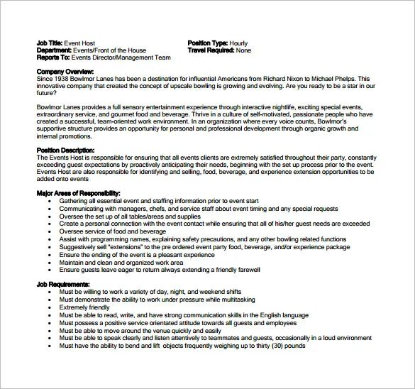 hostess on resume