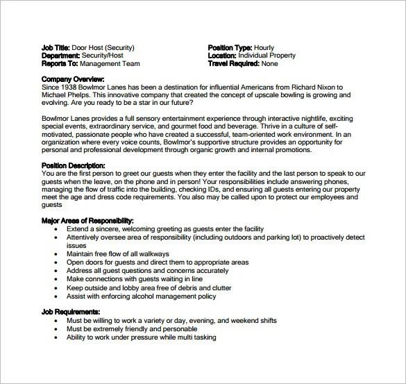 Hostess Job Description Hostess Job Description For Resume Cashier