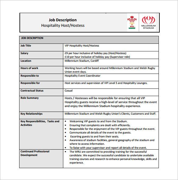 Hostess Job Description Template \u2013 10+ Free Word, PDF Format