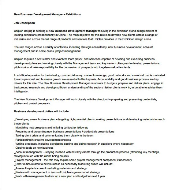business manager description - 28 images - business development - Business Development Manager Job Description