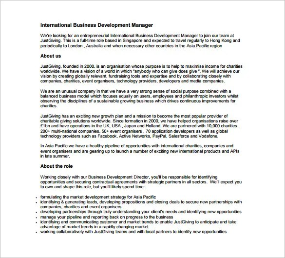 Business Development Job Description Template \u2013 10+ Free Word, PDF - Business Development Manager Job Description