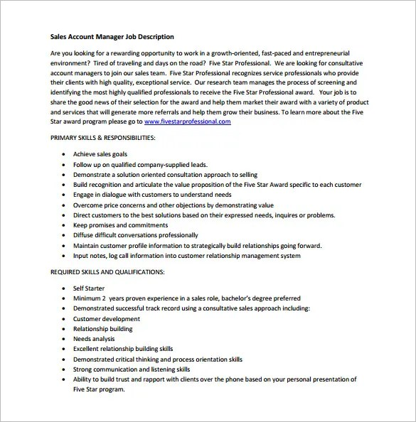 Account Manager Job Description Template u2013 11+ Free Word, PDF - account management job description