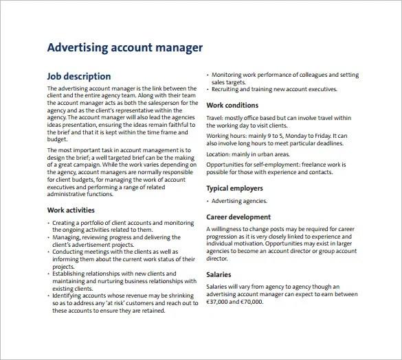 Account Manager Job Description Template \u2013 13+ Free Word, PDF Format - account manager job description