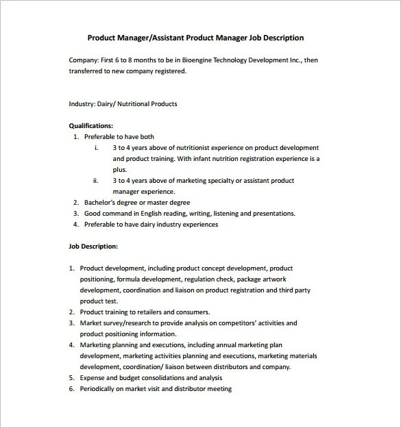 12+ Product Manager Job Description Templates - Free Sample, Example