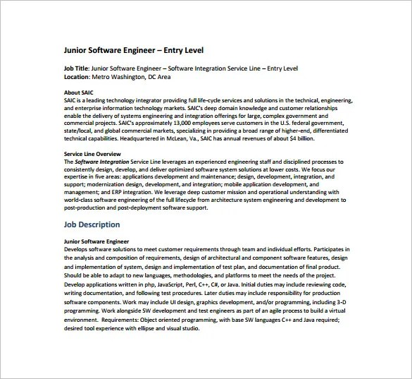Software Engineer Job Description Template \u2013 10+ Free Word, PDF