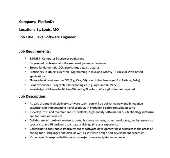 14+ Software Engineer Job Description Templates - Free Sample - job qualification sample