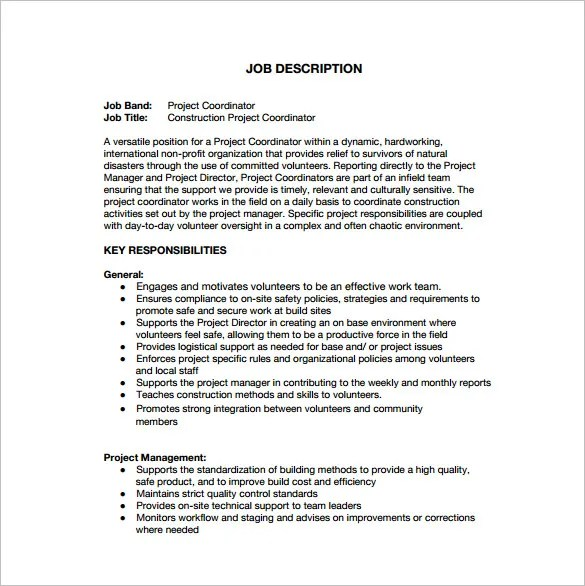 job description for project coordinator - Ozilalmanoof - project coordinator job description