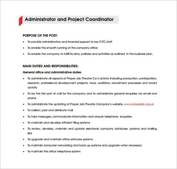 9+ Project Coordinator Job Description Templates - Free Sample