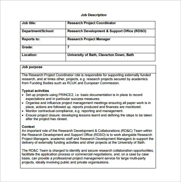 Coordinator Job Description Operations Coordinator Job - job description templates